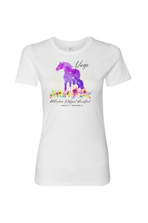 Virgo Horse Shirt for Women-T-shirt-teelaunch-Next Level Womens Shirt-White-S-Three Wild Horses