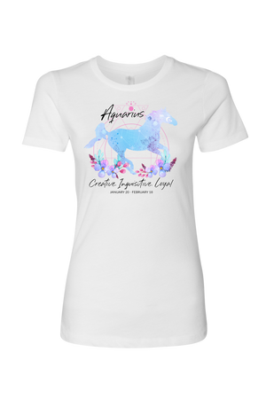 Aquarius Horse Shirt for Women-T-shirt-teelaunch-Next Level Womens Shirt-White-S-Three Wild Horses