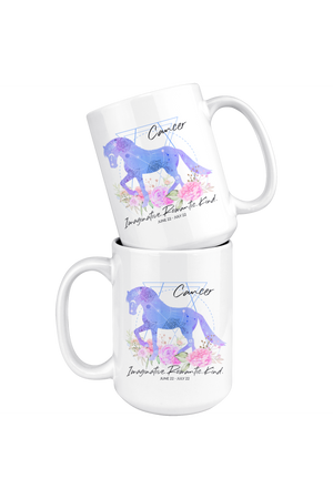 Cancer Zodiac Horse White Coffee Mug-Drinkware-teelaunch-Cancer Blue & Purple Horse Mug-Three Wild Horses