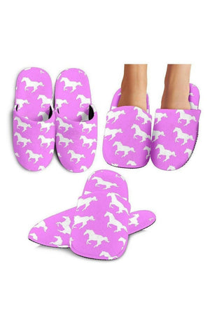 Violet Horse Pattern Slippers