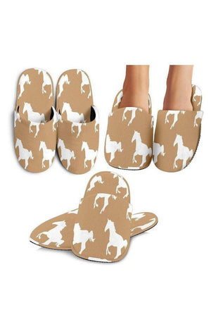 Rosy Brown Horse Pattern Slippers
