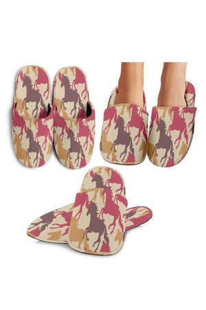 Maroon Horse Pattern Slippers