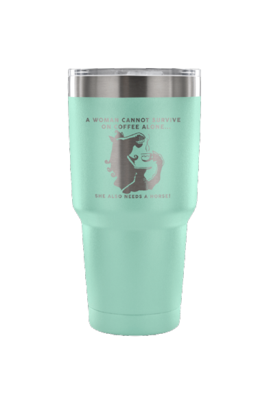 She Also Needs a Horse - Coffee Vacuum Tumbler-Drinkware-teelaunch-Teal-Three Wild Horses
