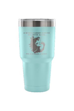 She Also Needs a Horse - Coffee Vacuum Tumbler-Drinkware-teelaunch-Light Blue-Three Wild Horses