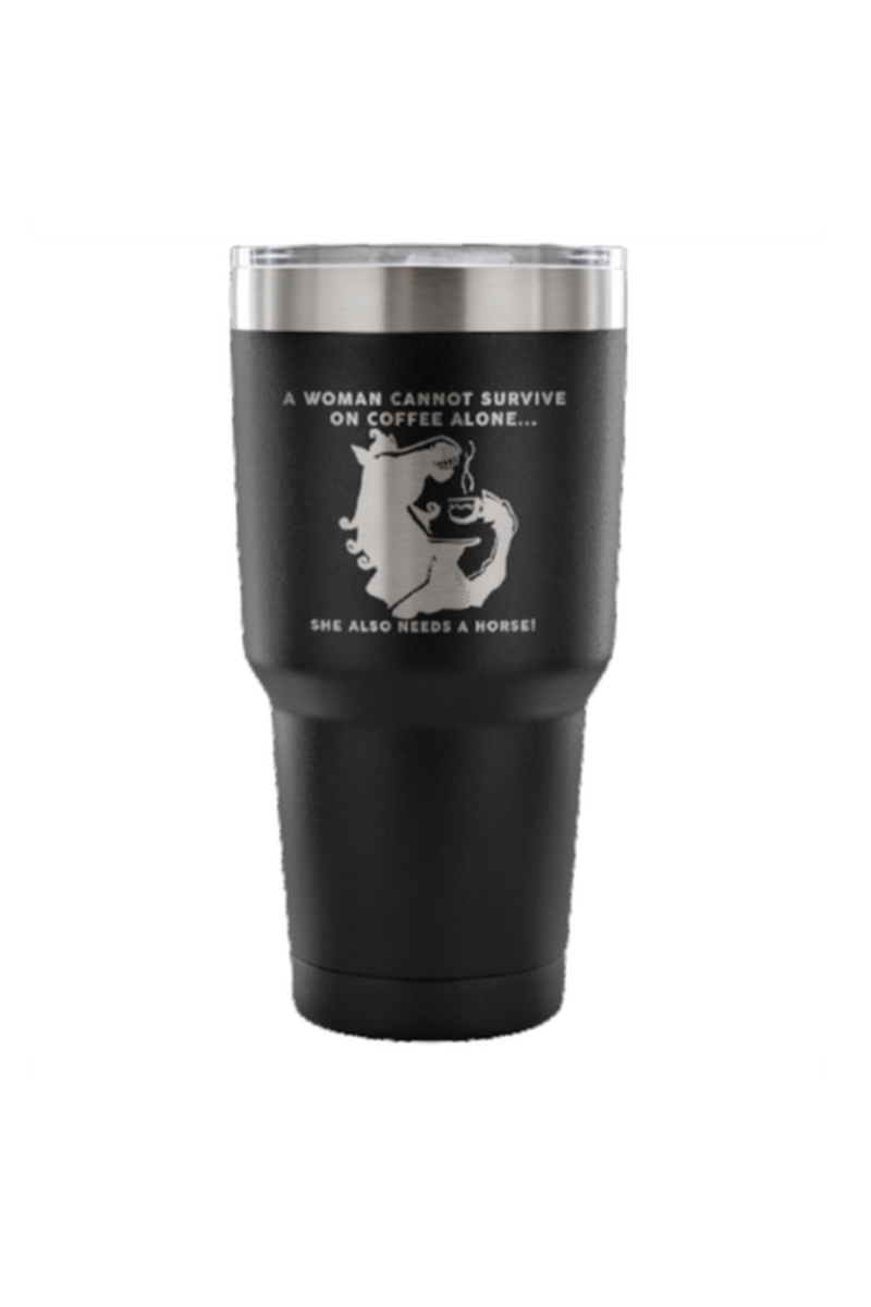 She Also Needs a Horse - Coffee Vacuum Tumbler-Drinkware-teelaunch-Black-Three Wild Horses