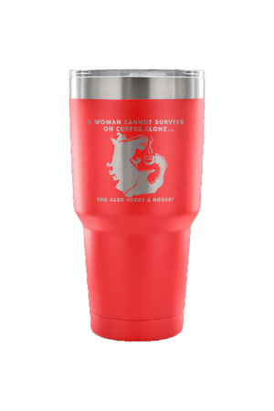 She Also Needs a Horse - Coffee Vacuum Tumbler-Drinkware-teelaunch-Red-Three Wild Horses