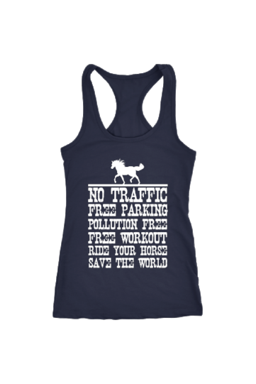 Ride Your Horse, Save the World - Tops-Tops-teelaunch-Racerback Tank-Navy-S-Three Wild Horses