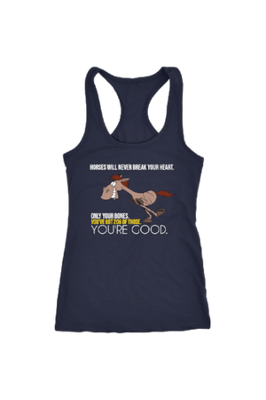 Horses Will Never Break Your Heart - Tops-Tops-teelaunch-Racerback Tank-Navy-S-Three Wild Horses