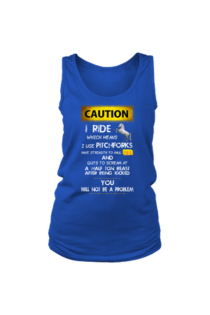 Caution! I Ride Horses - Tank Tops-Tops-teelaunch-Royal Blue-S-Three Wild Horses