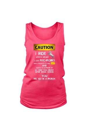 Caution! I Ride Horses - Tank Tops-Tops-teelaunch-Neon Pink-S-Three Wild Horses