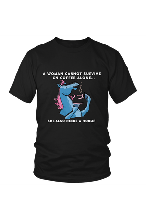 Yes, she also needs a horse - Tops-Tops-teelaunch-Unisex Tee-Black-S-Three Wild Horses