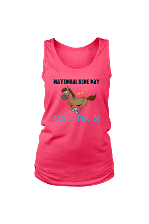 Every Day is a Ride Day - Tank Tops-Tops-teelaunch-Neon Pink-S-Three Wild Horses
