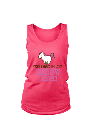 The Barn Is My Happy Place - Tank Tops-Tops-teelaunch-Neon Pink-S-Three Wild Horses
