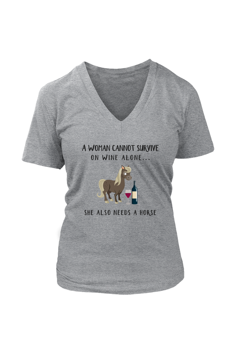 She Also Needs a Horse - Tops-Tops-teelaunch-Womens V-Neck-Grey-S-Three Wild Horses