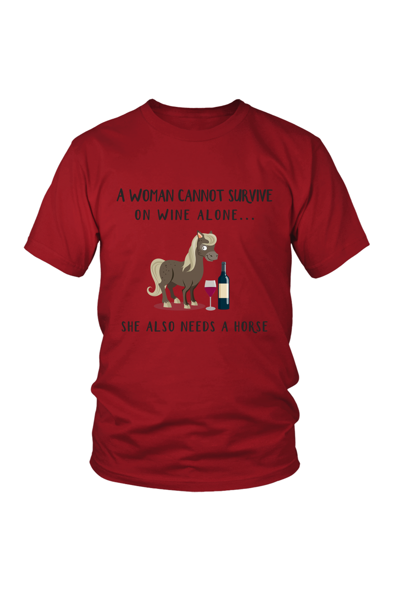 She Also Needs a Horse - Tops-Tops-teelaunch-Unisex Tee-Red-S-Three Wild Horses