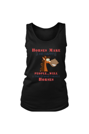Horses Make Me Happy - Tank Tops-Tops-teelaunch-Black-S-Three Wild Horses