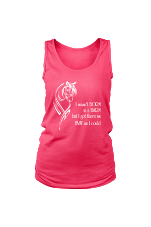 I Wasn't Born in a Barn - Tank Tops-Tops-teelaunch-Neon Pink-S-Three Wild Horses