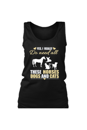 Yes, I really do need all these horses, dogs & cats - Tank Tops-Tops-teelaunch-Black-S-Three Wild Horses
