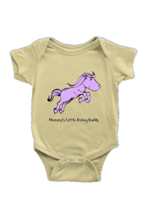 Mommy's Little Riding Buddy - Baby Onesies-Baby-teelaunch-LightYellow-NB-Three Wild Horses