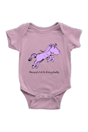 Mommy's Little Riding Buddy - Baby Onesies-Baby-teelaunch-Pink-NB-Three Wild Horses