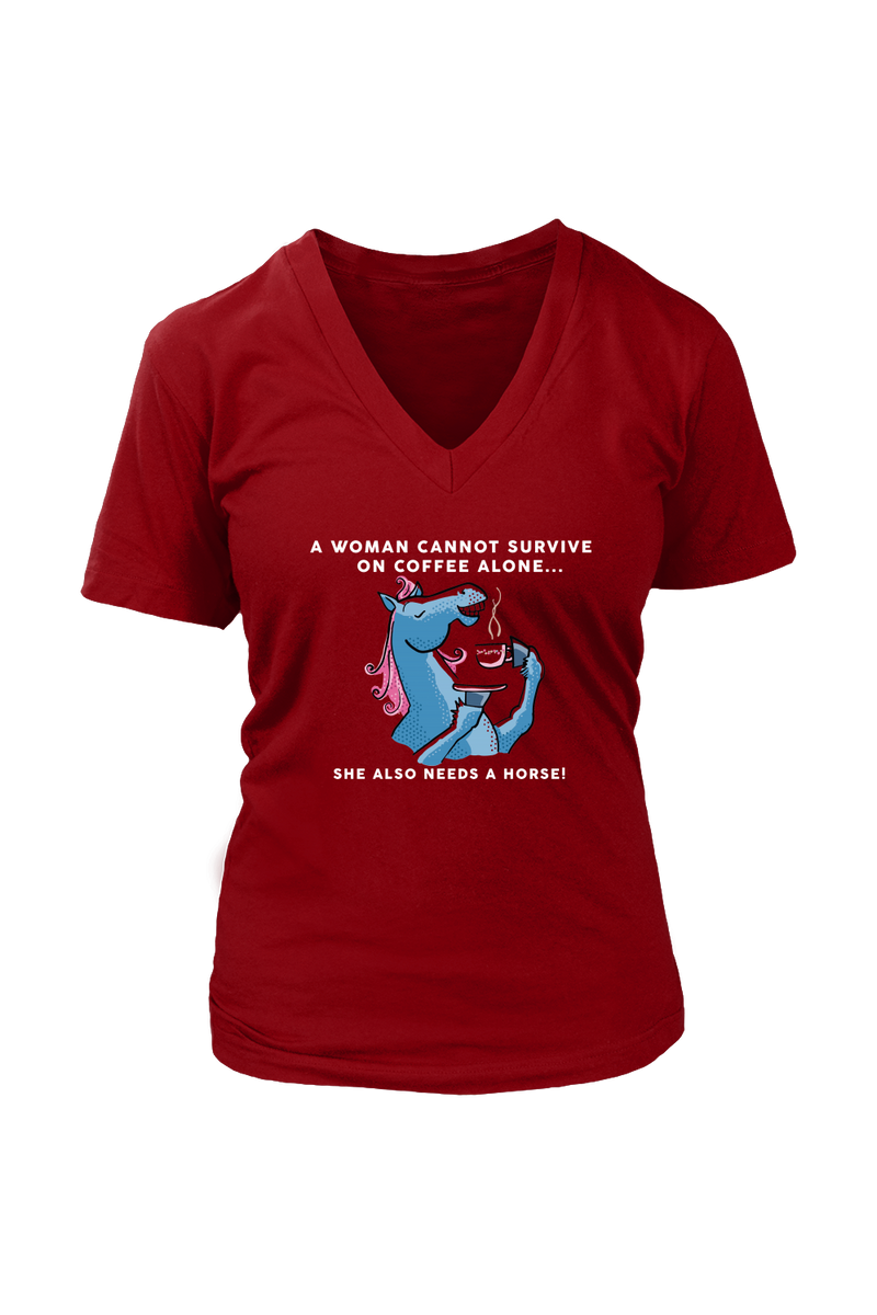 Yes, she also needs a horse - Tops-Tops-teelaunch-Womens V-Neck-Red-S-Three Wild Horses
