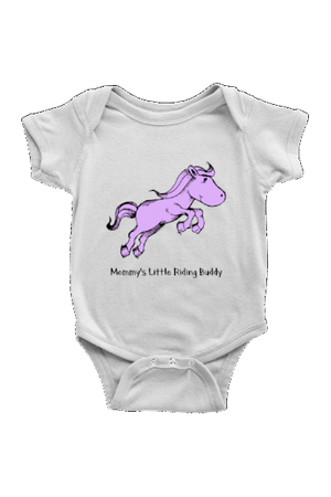 Mommy's Little Riding Buddy - Baby Onesies-Baby-teelaunch-White-NB-Three Wild Horses