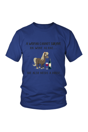 She Also Needs a Horse - Tops-Tops-teelaunch-Unisex Tee-Royal Blue-S-Three Wild Horses
