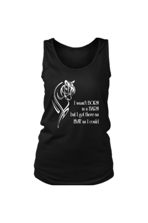 I Wasn't Born in a Barn - Tank Tops-Tops-teelaunch-Black-S-Three Wild Horses