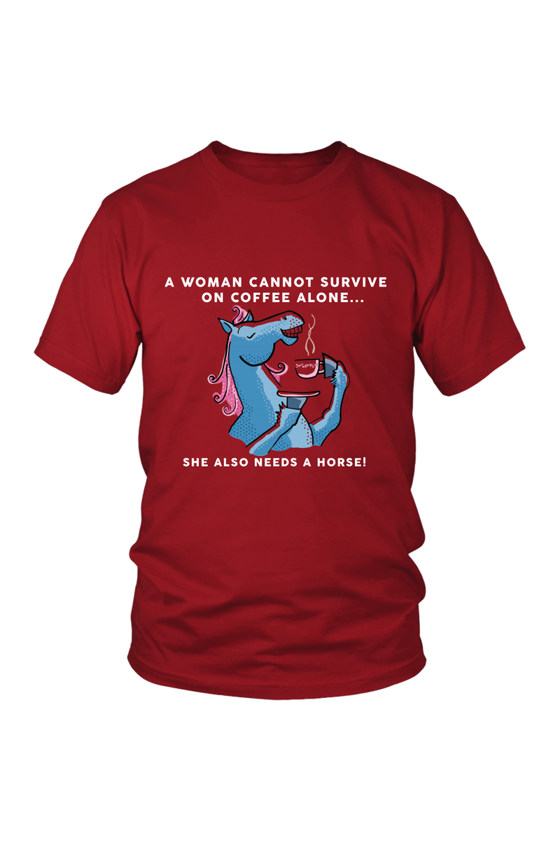 Yes, she also needs a horse - Tops-Tops-teelaunch-Unisex Tee-Red-S-Three Wild Horses