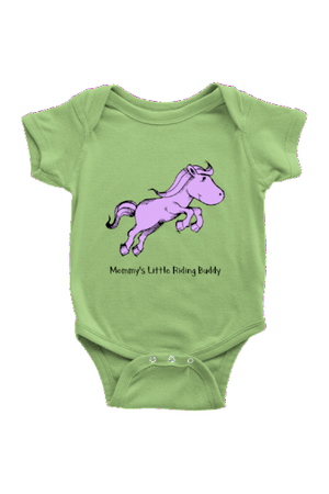 Mommy's Little Riding Buddy - Baby Onesies-Baby-teelaunch-LightGreen-NB-Three Wild Horses