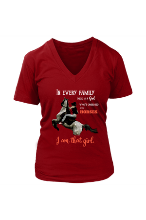 I Am That Girl - Tops-Tops-teelaunch-Womens V-Neck Tee-Red-S-Three Wild Horses
