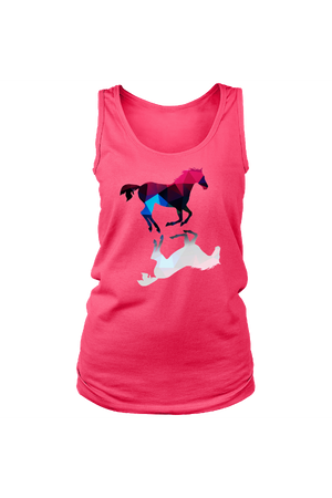 Foaling Around - Tank Tops-Tops-teelaunch-Neon Pink-S-Three Wild Horses