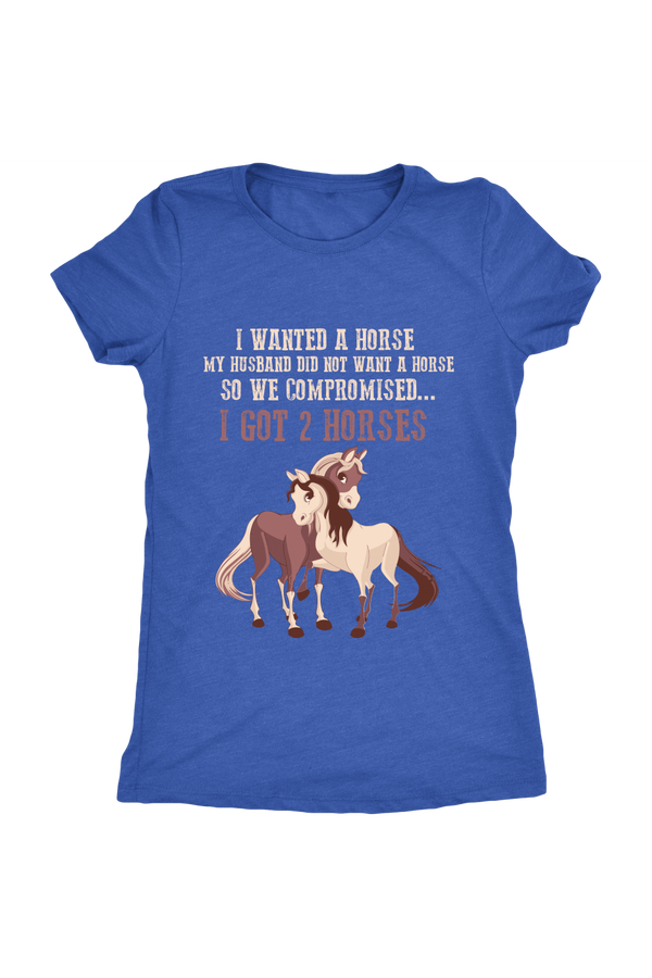 Compromise With Your Husband And Get 2 Horses - Tops-Tops-teelaunch-Ladies Triblend-Royal Blue-S-Three Wild Horses
