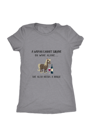 She Also Needs a Horse - Tops-Tops-teelaunch-Ladies Triblend-Grey-S-Three Wild Horses