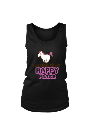 The Barn Is My Happy Place - Tank Tops-Tops-teelaunch-Black-S-Three Wild Horses