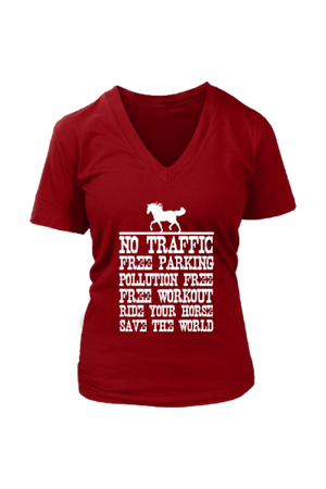 Ride Your Horse, Save the World - Tops-Tops-teelaunch-Womens V-Neck-Red-S-Three Wild Horses