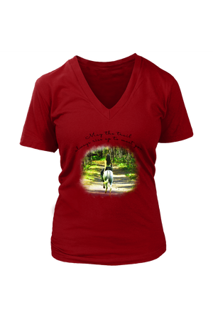 The Trail Always Rise - Tops-T-shirt-teelaunch-Womens V-Neck-Red-S-Three Wild Horses