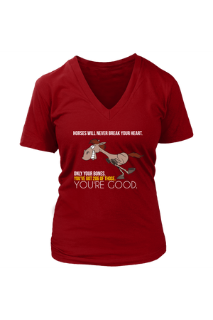photos-T-shirt-teelaunch-District Womens V-Neck-Red-S-Three Wild Horses