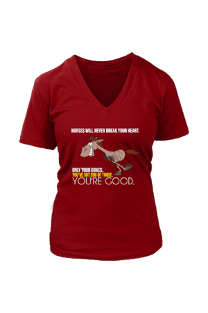 Horses Will Never Break Your Heart - Tops-Tops-teelaunch-Womens V-Neck-Red-S-Three Wild Horses