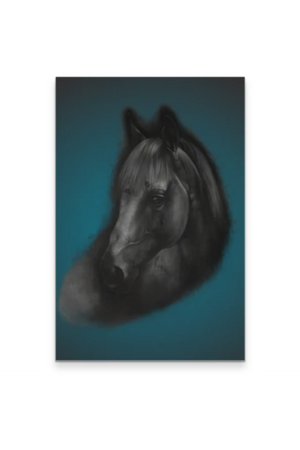 "The Horse Portrait - Canvas-Wall Art-teelaunch-Blue-24"" x 36""-Three Wild Horses"