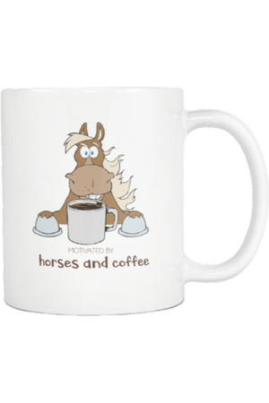 Motivated by Horses and Coffee - Mug-Drinkware-teelaunch-COFFEE MUG 11 OZ-Three Wild Horses