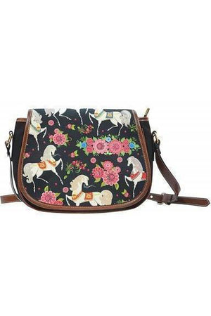 Horse themed Canvas/PU Leather Saddle Bag Handbag-Saddle Bag-Pillow Profits-1-Three Wild Horses