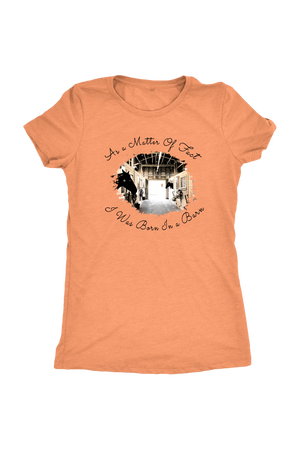 Born In A Barn - Tops-T-shirt-teelaunch-Ladies Triblend-Vintage Light Orange-S-Three Wild Horses