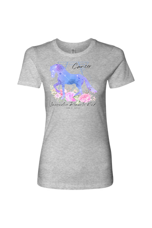 Cancer Horse Shirt for Women-T-shirt-teelaunch-Next Level Womens Shirt-Heather Grey-S-Three Wild Horses