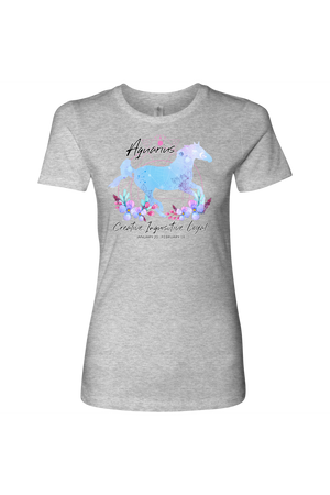Aquarius Horse Shirt for Women-T-shirt-teelaunch-Next Level Womens Shirt-Heather Grey-S-Three Wild Horses