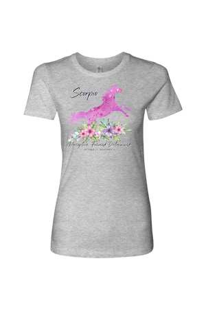 Scorpio Horse Shirt for Women-T-shirt-teelaunch-Next Level Womens Shirt-Heather Grey-S-Three Wild Horses