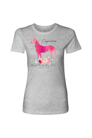 Capricorn Horse Shirt for Women-T-shirt-teelaunch-Next Level Womens Shirt-Heather Grey-S-Three Wild Horses