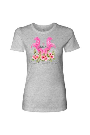 Gemini Horse Shirt for Women-T-shirt-teelaunch-Next Level Womens Shirt-Heather Grey-S-Three Wild Horses