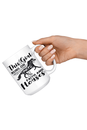 Snow This Girl Runs on Faith & Horses Mug