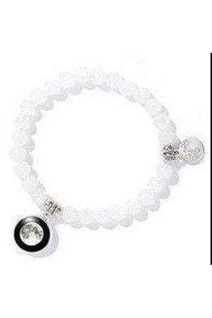 Gray White Moonstone Custom moon Phase Bead Bracelet